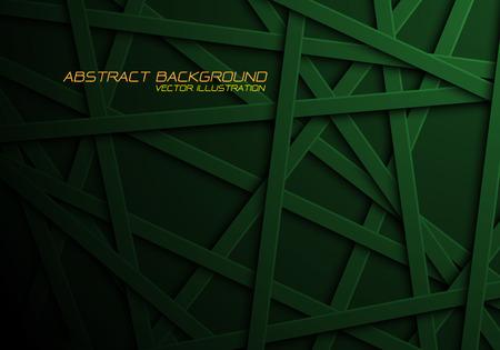 Abstract green line cross pattern overlap in black design modern futuristic background vector illustration.