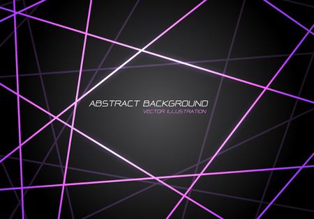 Abstrakte violette Linienlichtlaserkreuzüberlappung auf futuristischer Hintergrundvektorillustration der modernen Technologie des dunkelgrauen Designs.