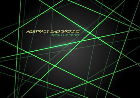 Abstract green line light laser cross overlap on dark grey design modern technology futuristic background vector illustration.