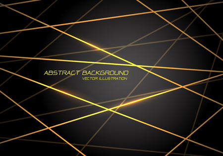 Abstract yellow line light laser cross overlap on dark grey design modern technology futuristic background vector illustration.