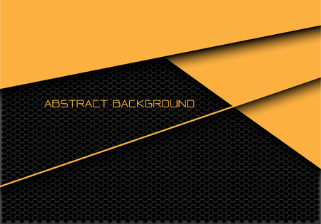 Abstract yellow dark grey hexagon mesh overlap with text design modern futuristic background vector illustration. Ilustração