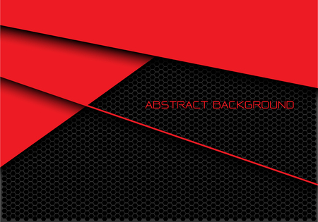 Abstract red dark grey hexagon mesh overlap with text design modern futuristic background vector illustration.