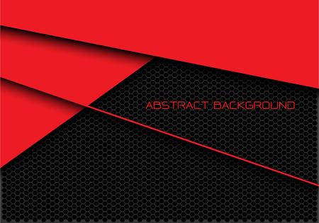 Le maillage hexagonal abstrait rouge gris foncé se chevauche avec l'illustration vectorielle de fond futuriste moderne de conception de texte. Vecteurs