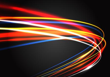 Movimiento de curva de velocidad rápida de luz de color abstracto en ilustración de vector de fondo de lujo de tecnología negra