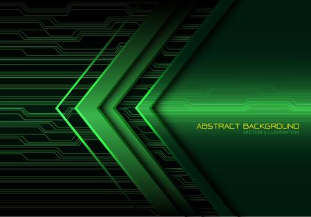 Abstract green arrow light circuit power direction design modern futuristic technology background vector illustration.