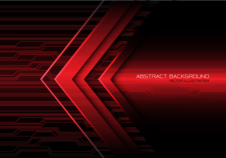 Abstract red arrow light circuit power direction design modern futuristic technology background vector illustration. Ilustração