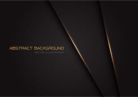 Abstract dark grey with gold light line on blank space for text design modern luxury futuristic background vector illustration. Ilustração