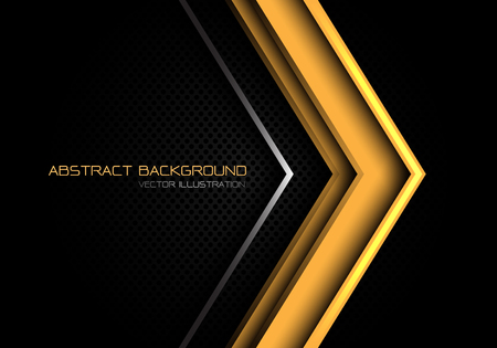 Abstract yellow silver arrow direction on dark grey circle mesh with text design modern futuristic background vector illustration.