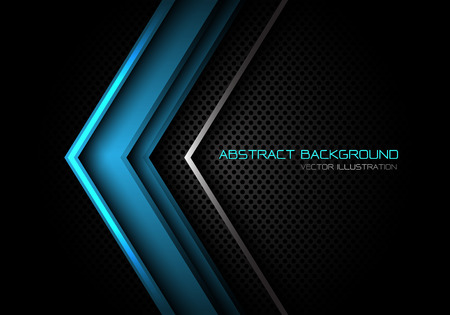 Abstract blue silver arrow direction on dark grey circle mesh with text design modern futuristic background vector illustration.