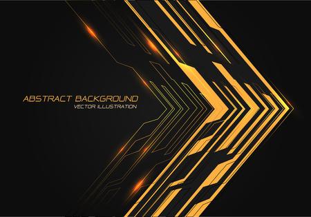 Abstract yellow power circuit arrow direction on black design modern technology futuristic background vector illustration. Ilustração