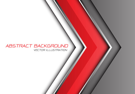 Abstract red grey silver line arrow direction with white blank space and text design modern futuristic background vector illustration.