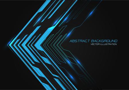 Abstract blue power circuit arrow direction on black design modern technology futuristic background vector illustration. Ilustração
