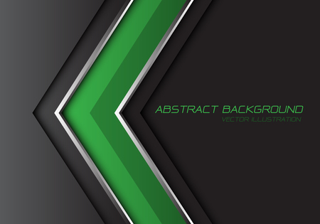 Abstract green grey silver line arrow direction with dark blank space and text design modern futuristic background vector illustration.