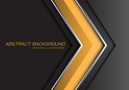 Abstract yellow grey silver line arrow direction with dark blank space and text design modern futuristic background vector illustration.