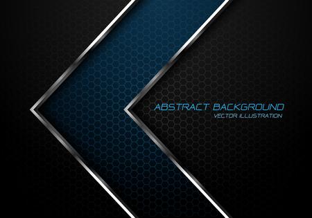 Abstract blue silver line arrow on dark grey hexagon mesh design modern luxury futuristic background vector illustration. Ilustração