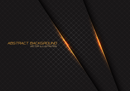 Abstract yellow light on dark grey square mesh with text design modern luxury futuristic background vector illustration. Ilustração