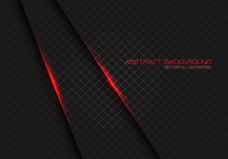 Abstract red light on dark grey square mesh with text design modern luxury futuristic background vector illustration.