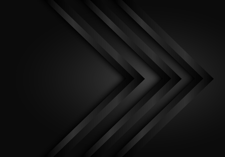 Abstract dark black triple arrow direction design modern futuristic background vector illustration.