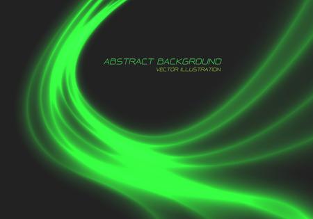 Abstract green dynamic wave line light energy curve on dark grey design modern futuristic technology background vector illustration.