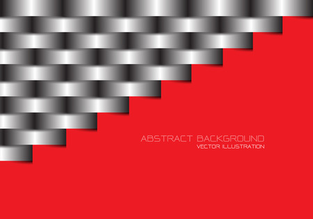 Abstract grey metal line woven on red blank space design modern futuristic background vector illustration. Stock Illustratie