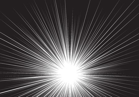 Línea negra de velocidad de zoom radial en blanco para la ilustración de vector de fondo cómico.