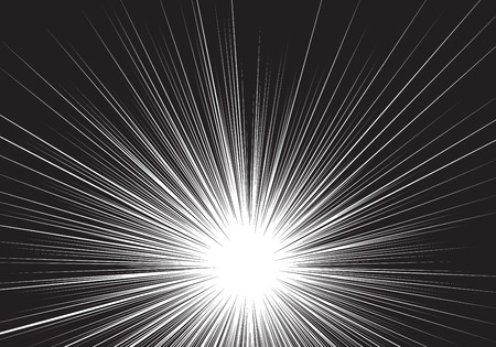 Ligne noire de vitesse de zoom radial sur blanc pour illustration vectorielle de fond comique.