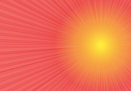 Radial zoom speed side on red yellow gradient background vector illustration. Ilustração