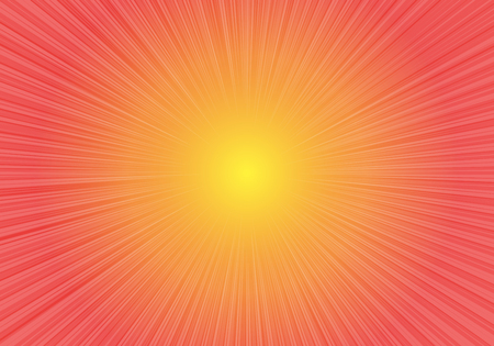 Radial zoom speed on red yellow gradient background vector illustration.