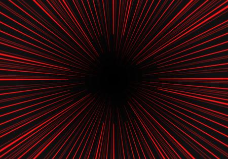 Radial zoom speed red line on black vector illustration. Ilustração