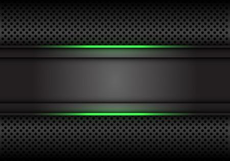 Bannière grise foncée abstraite de ligne de lumière verte sur l'illustration de vecteur de fond futuriste de luxe moderne de conception de maille de cercle.