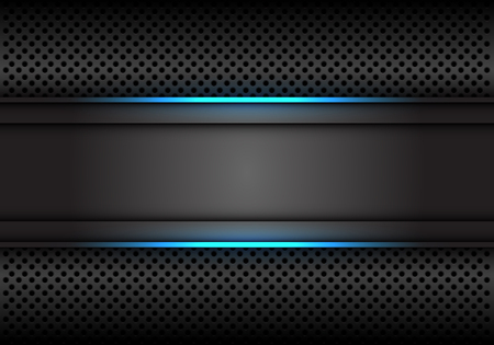 Abstract blue light line dark grey banner on circle mesh design modern luxury futuristic background vector illustration.