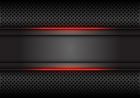 Bandera gris oscuro de la línea de luz roja abstracta en el ejemplo del vector del fondo futurista de lujo moderno del diseño de la malla del círculo.