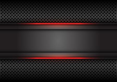 Bannière grise foncée abstraite de ligne de lumière rouge sur l'illustration de vecteur de fond futuriste de luxe moderne de conception de maille de cercle.