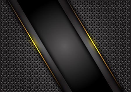 Abstract yellow light line dark grey on circle mesh design modern technology futuristic background vector illustration.