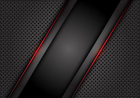 Abstract red light line dark grey on circle mesh design modern technology futuristic background vector illustration.
