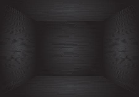 Black circuit pattern room 3D design modern futuristic technology vector illustration.