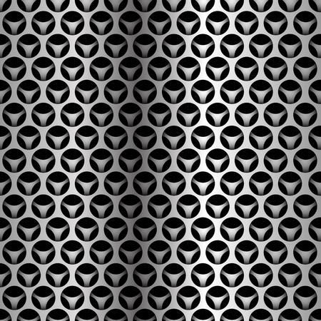 Abstract silver circle mesh overlap seamless pattern on black design modern futuristic background vector illustration. 向量圖像