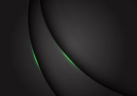 Abstract green light on dark grey grey metallic curve overlap with blank space design modern futuristic background vector illustration. 版權商用圖片 - 127317952