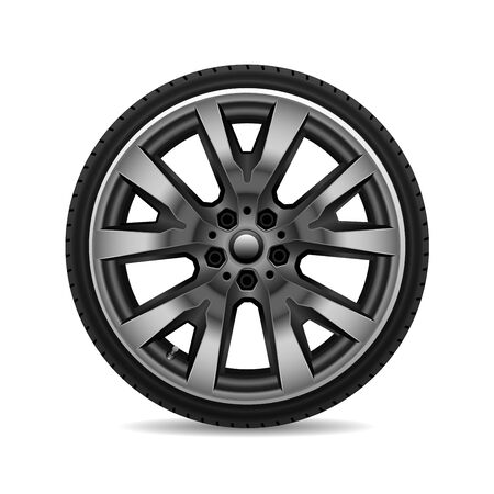 Aluminium wheel car tire on white background vector illustration. 版權商用圖片 - 127317955