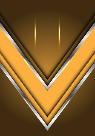 Abstract yellow silver line arrow direction with blank space light design modern futuristic luxury background vector illustration.