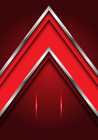 Abstract red silver line arrow direction with blank space light design modern futuristic luxury element vector illustration.