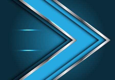 Abstract blue silver line arrow direction with blank space light design modern futuristic luxury vector illustration. 向量圖像