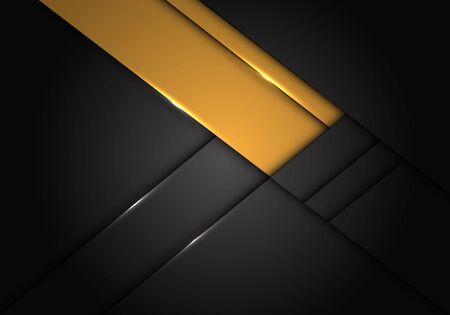 Abstract yellow label overlap on dark grey metallic design modern futuristic vector illustration. 向量圖像