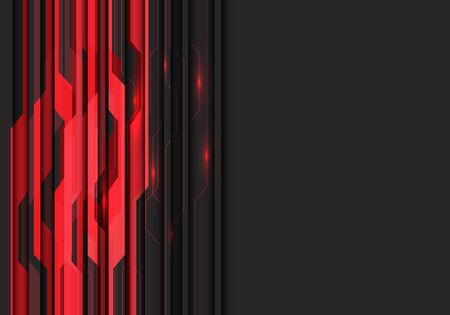 Abstract red circuit light with dark grey blank space design modern futuristic vector illustration.