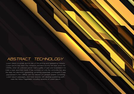 Abstract yellow grey circuit power with dark blank space and text design modern futuristic technology vector illustration.