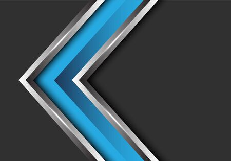 Abstract blue silver arrow direction on grey blank space design modern futuristic vector illustration. 版權商用圖片 - 127318019