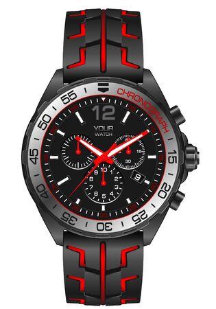 Red grey steel watch clock chronograph for men on white background design modern vector illustration.