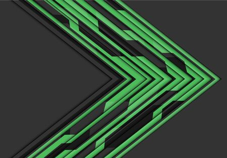 Abstract green circuit line arrow direction on grey blank space design modern futuristic technology vector illustration. 向量圖像