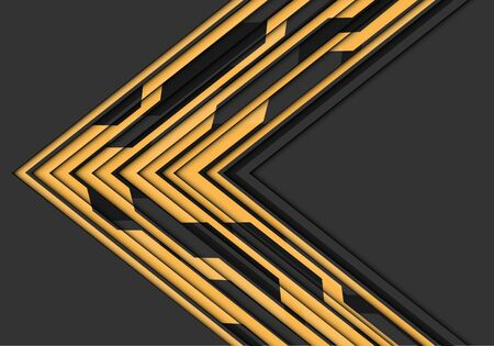 Abstract yellow circuit line arrow direction on grey blank space design modern futuristic technology vector illustration. 向量圖像