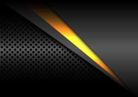 Abstract yellow light line overlap on dark metallic with circle mesh design modern luxury futuristic background vector illustration.